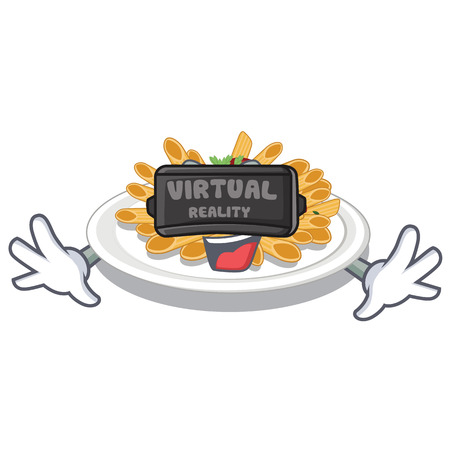 Virtual reality pasta in the a mascot shape vector illustration