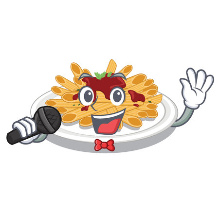Singing pasta in the a mascot shape vector illustration