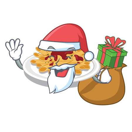 Santa with gift pasta isolated with in the cartoon Ilustracja