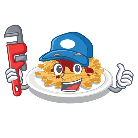 Plumber pasta isolated with in the cartoon
