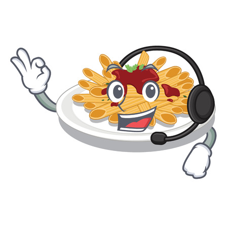 With headphone pasta isolated with in the cartoon vector illustration Ilustracja