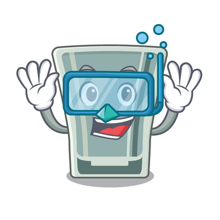 Diving shot glass in the cartoon shape vector illustration Ilustração