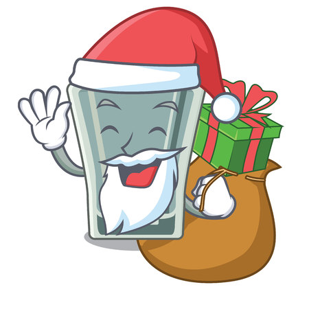 Santa with gift shot glass on wooden cartoon table vector illustration