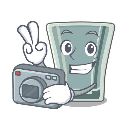 Carácter de vaso de chupito de fotógrafo en la nevera Ilustración de vector