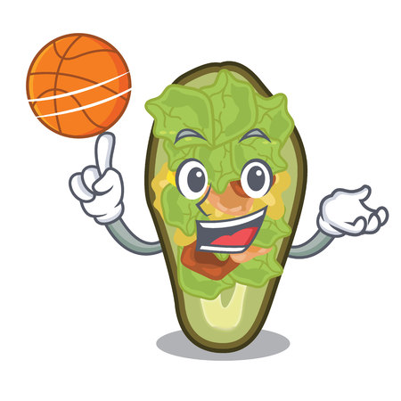 With basketball stuffed avocado isolated with the cartoon vector illustration Ilustração