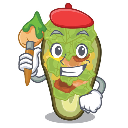 Artist stuffed avocado isolated with the cartoon vector illustration