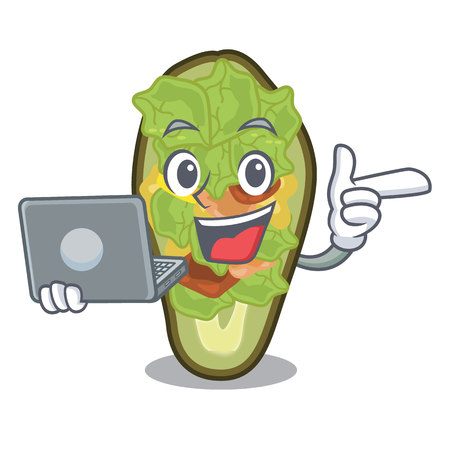 With laptop stuffed avocado isolated with the cartoon vector illustration