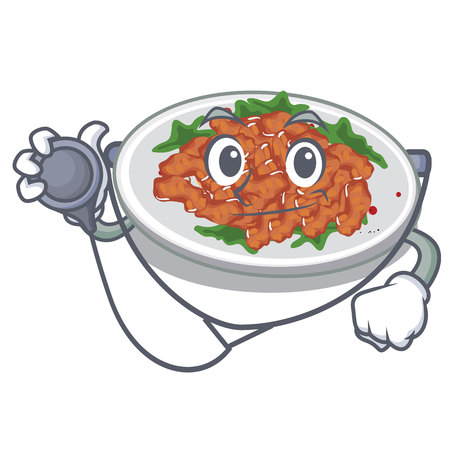 Doctor sesame chicken served on mascot plate vector illustration
