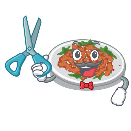 Barber sesame chicken served on mascot plate vector illustration