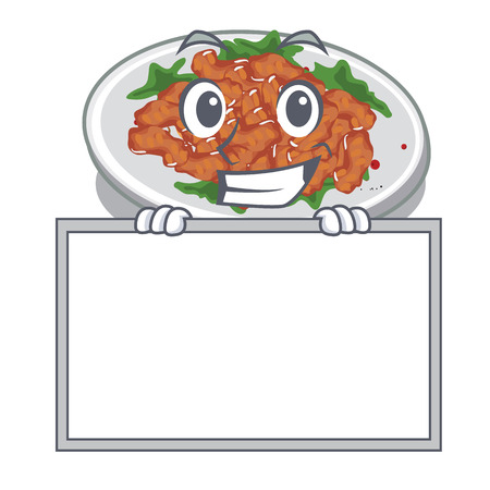 Grinning with board sesame chicken served on mascot plate vector illustration