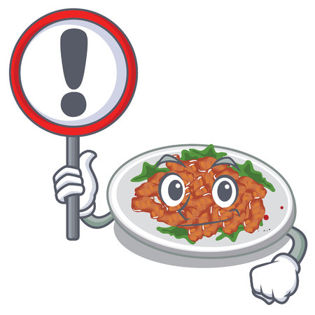 With sign sesame chicken served on mascot plate vector illustration