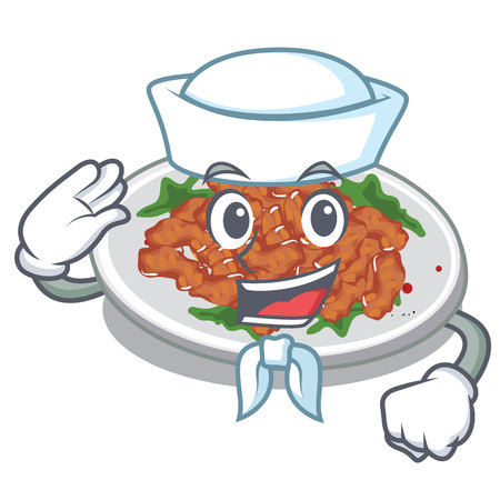 Sailor sesame chicken served on mascot plate vector illustration