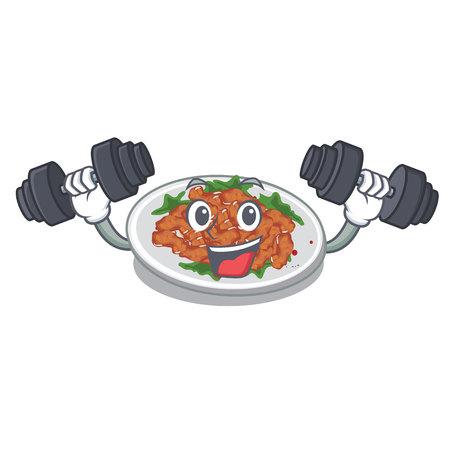Fitness sesame chicken served on mascot plate vector illustration