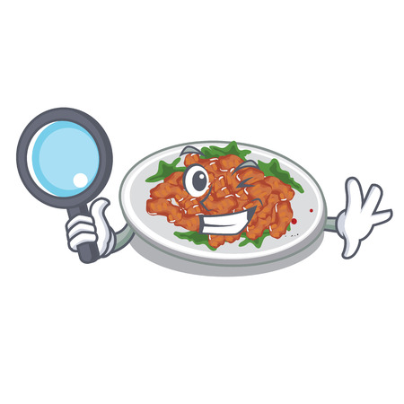 Detective sesame chicken isolated with the cartoon