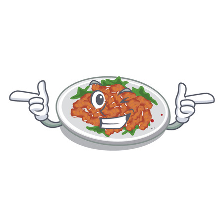 Wink sesame chicken isolated with the cartoonvector illustration