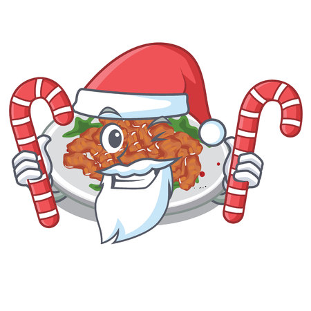 Santa with candy sesame chicken in the character shape vector illustration Çizim