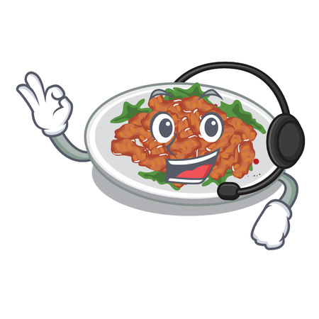 With headphone sesame chicken in the character shape vector illustration