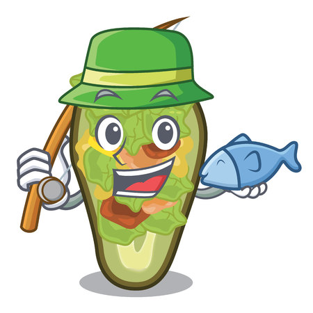 Fishing stuffed avocado on a character board vector illustration Banque d'images - 122477744