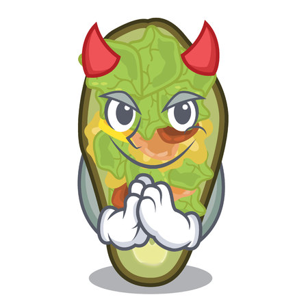 Devil stuffed avocado on a character board vector illustration Banque d'images - 122015394