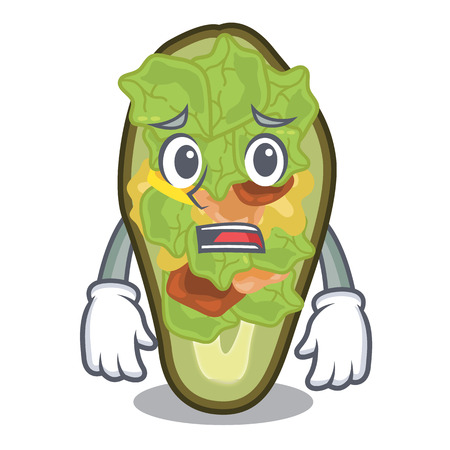 Afraid stuffed avocado on a character board vector illustration Ilustração