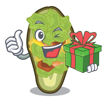 With gift stuffed avocado on a character board vector illustration Banque d'images - 122477750