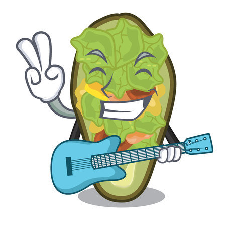 With guitar stuffed avocado on a character board vector illustration Banque d'images - 122477751