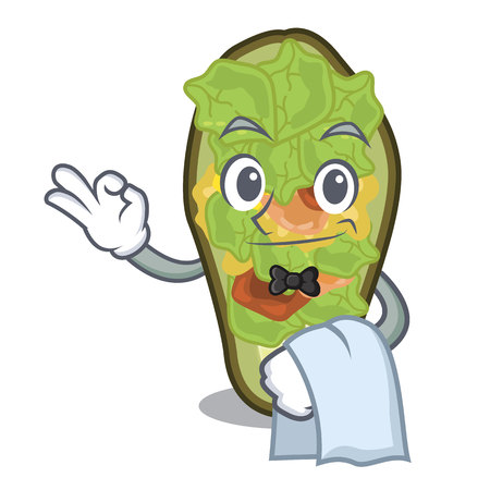 Waiter stuffed avocado on a character board vector illustration Banque d'images - 122477752