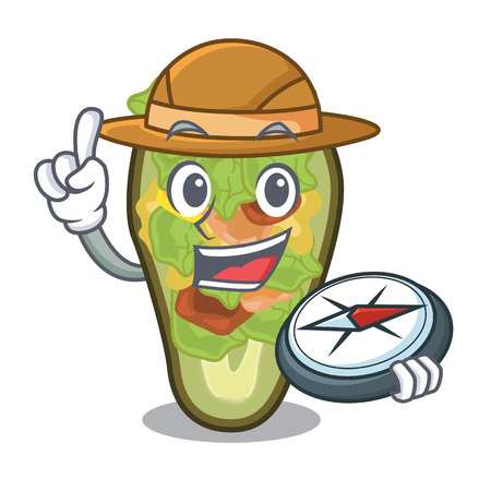 Explorer stuffed avocado on a character board vector illustration Banque d'images - 122477754