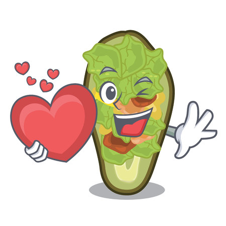 With heart stuffed avocado on a character board