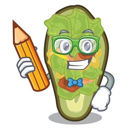Student avocado stuffed served in cartoon bowl vector illustration