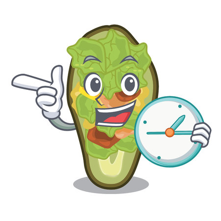 With clock avocado stuffed served in cartoon bowl vector illustration Çizim