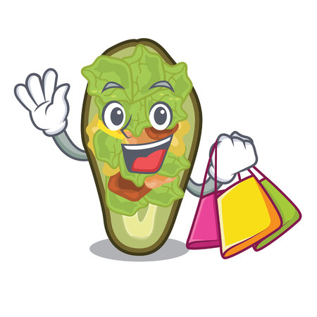 Shopping avocado stuffed served in cartoon bowl vector illustration Vectores