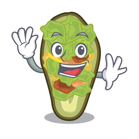 Waving avocado stuffed served in cartoon bowl vector illustration