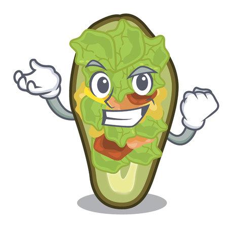Successful avocado stuffed served in cartoon bowl vector illustration Vectores