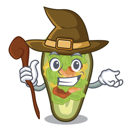 Witch stuffed avocado on a character board vector illustration Banque d'images - 122477779
