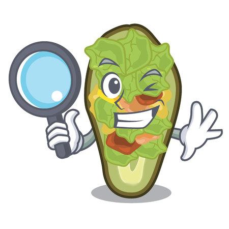Detective avocado stuffed served in cartoon bowl