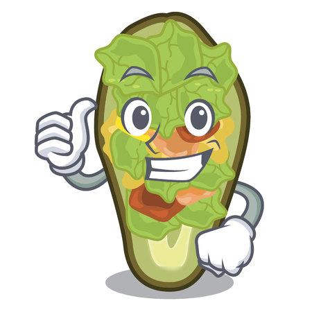 Thumbs up avocado stuffed served in cartoon bowl vector illustration