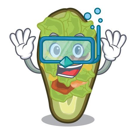 Diving avocado stuffed served in cartoon bowl vector illustration