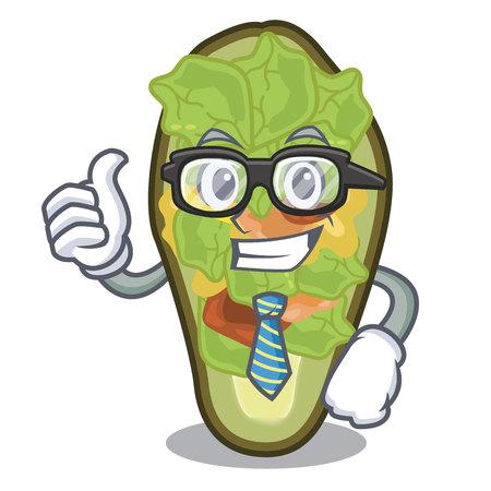 Businessman avocado stuffed served in cartoon bowl vector illustration