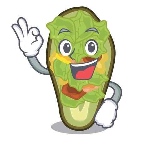 Okay avocado stuffed served in cartoon bowl vector illustration
