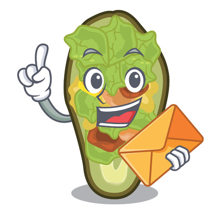 With envelope avocado stuffed served in cartoon bowl vector illustration