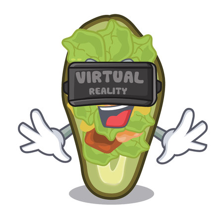 Virtual reality stuffed avocado on a character board vector illustration Banque d'images - 122477798