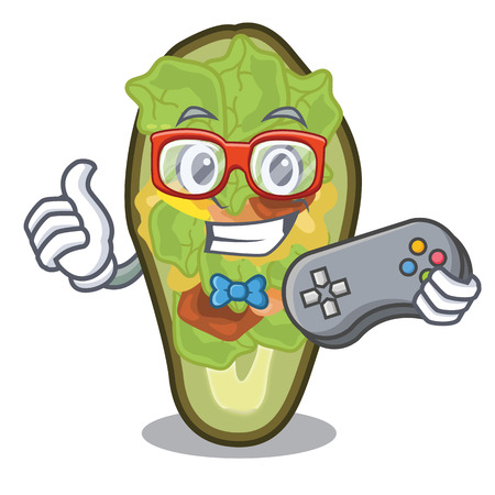 Gamer stuffed avocado on a character board vector illustration Banque d'images - 122477799