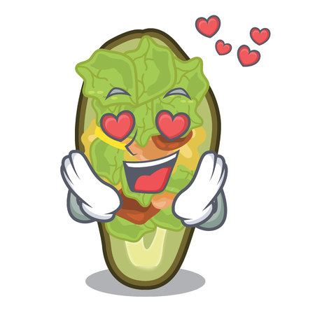 In love stuffed avocado on a character board vector illustration Banque d'images - 122477800