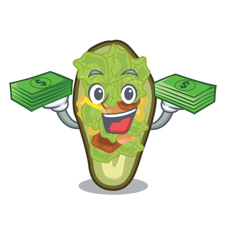 With money stuffed avocado on a character board Banque d'images - 122045695