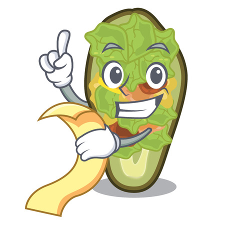 With menu stuffed avocado on a character board vector illustration Illustration