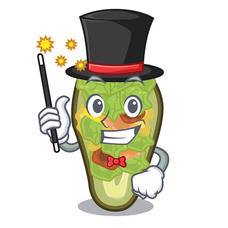Magician stuffed avocado in the mascot shape vector illustration