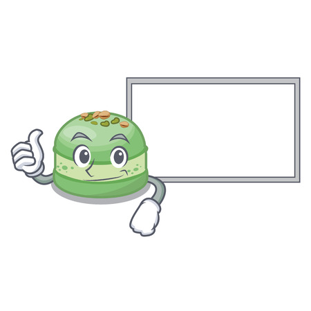 Thumbs up with board pistachios cake in the saucer cartoon vector illustration Ilustração