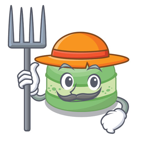 Farmer pistachios cake in the saucer cartoon vector illustration