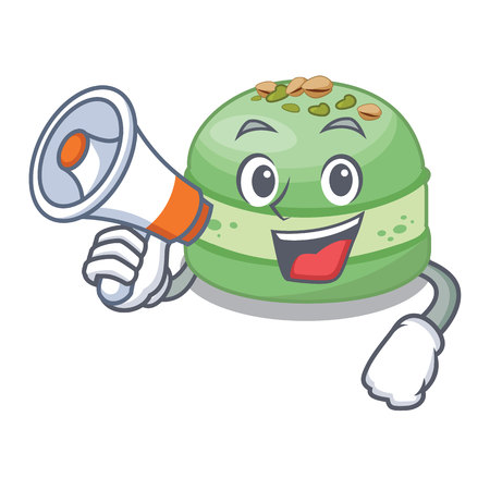 With megaphone pistachios cake in the saucer cartoon vector illustration
